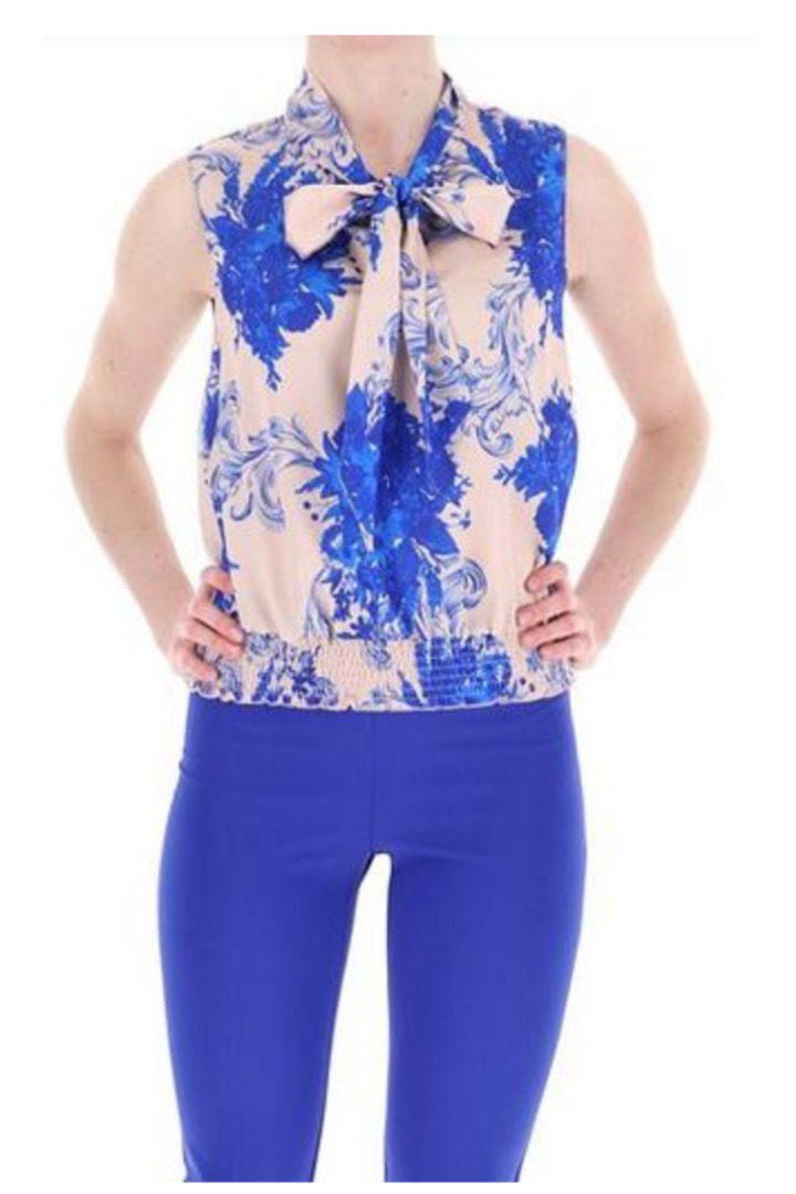 rinascimento floral blue top