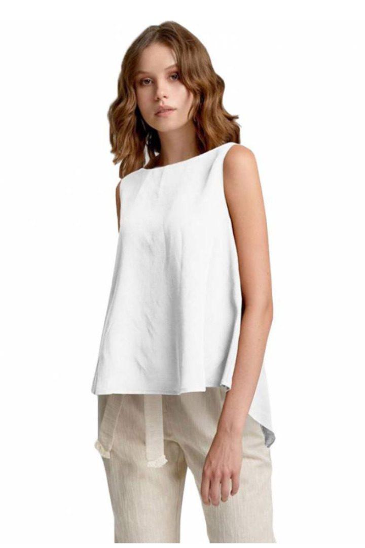 moutaki loose linen top white