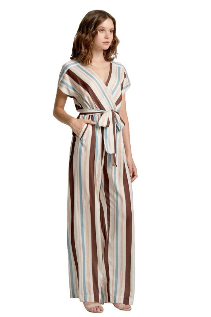 moutaki stripe jumpsuit brown