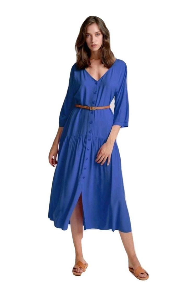 moutaki midi blue dress