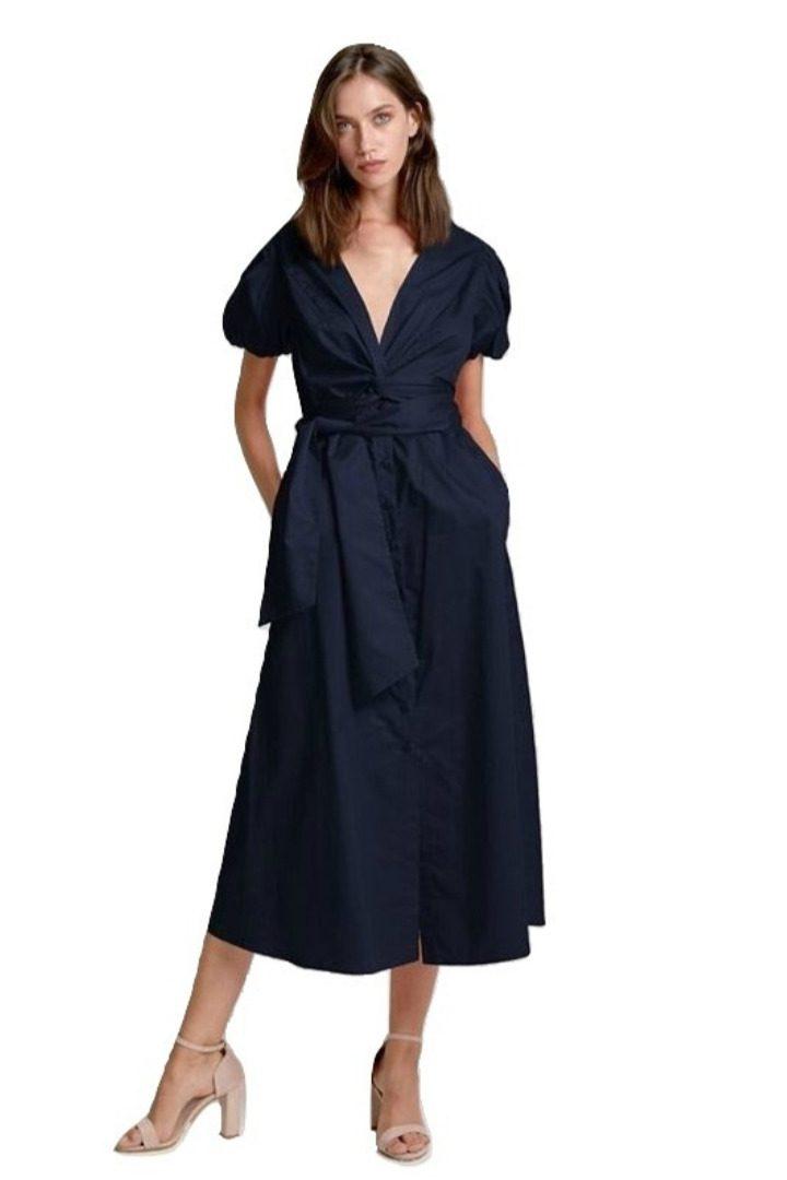 moutaki belted blue dress