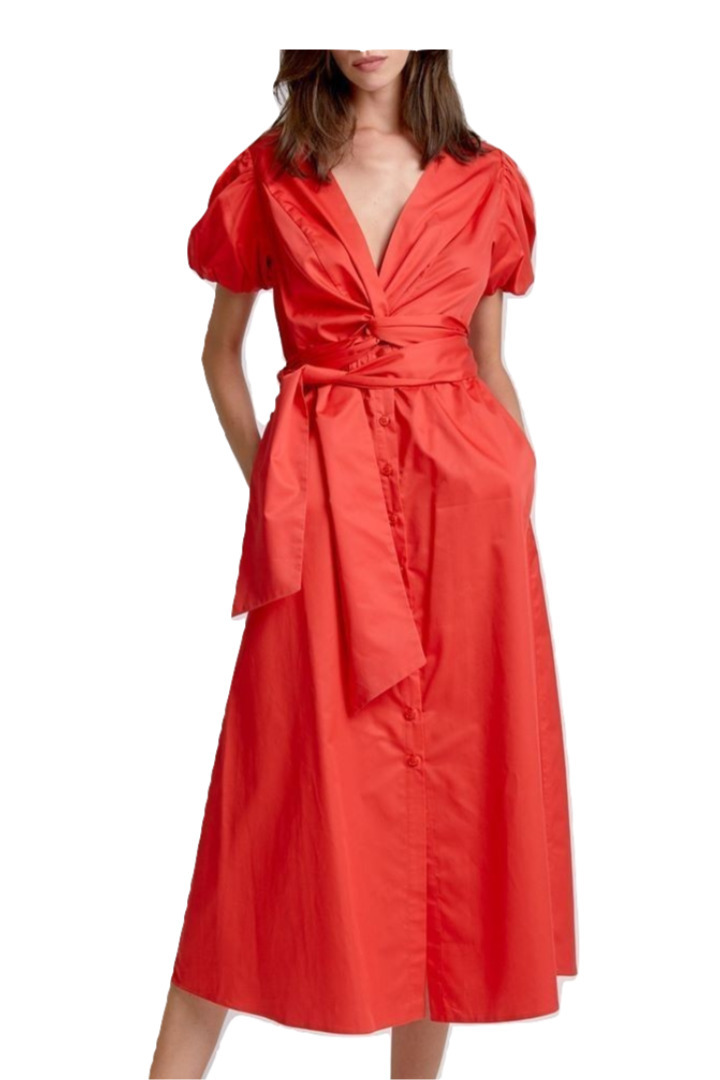 moutaki belted red dress
