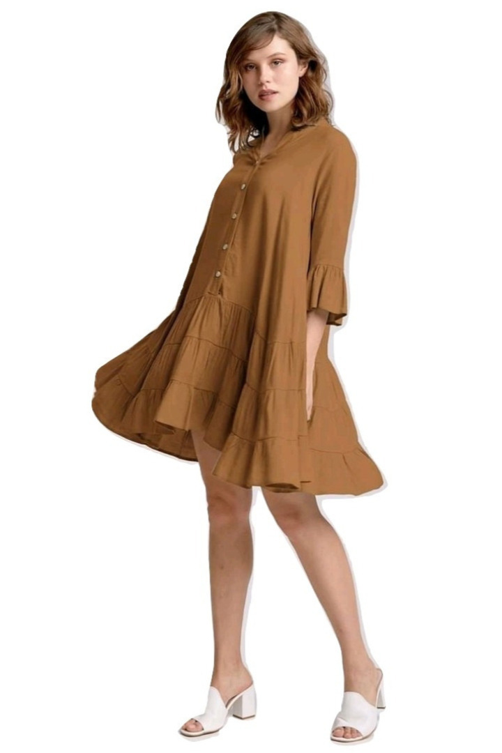 moutaki boho mini dress brown