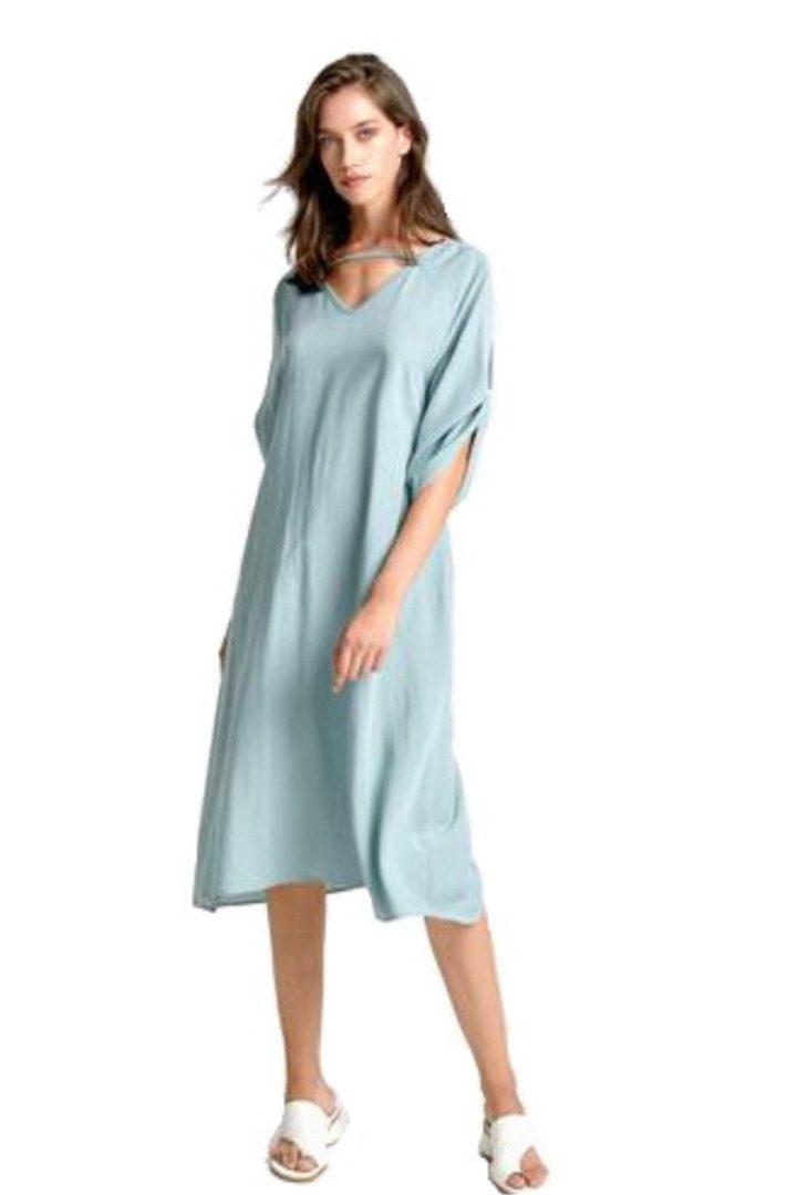 Moutaki midi φόρεμα λινό