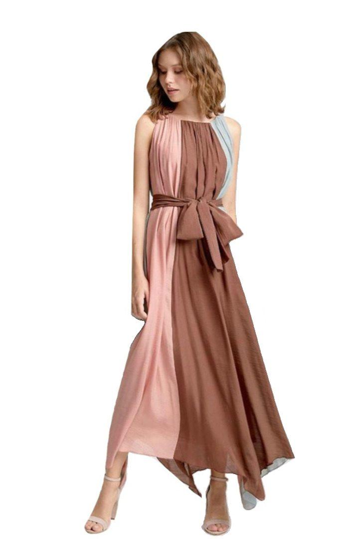 moutaki pastel color maxi dress