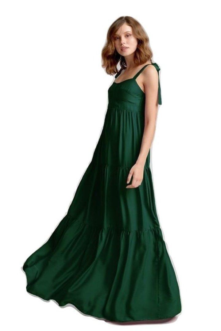 moutaki silky maxi green dress