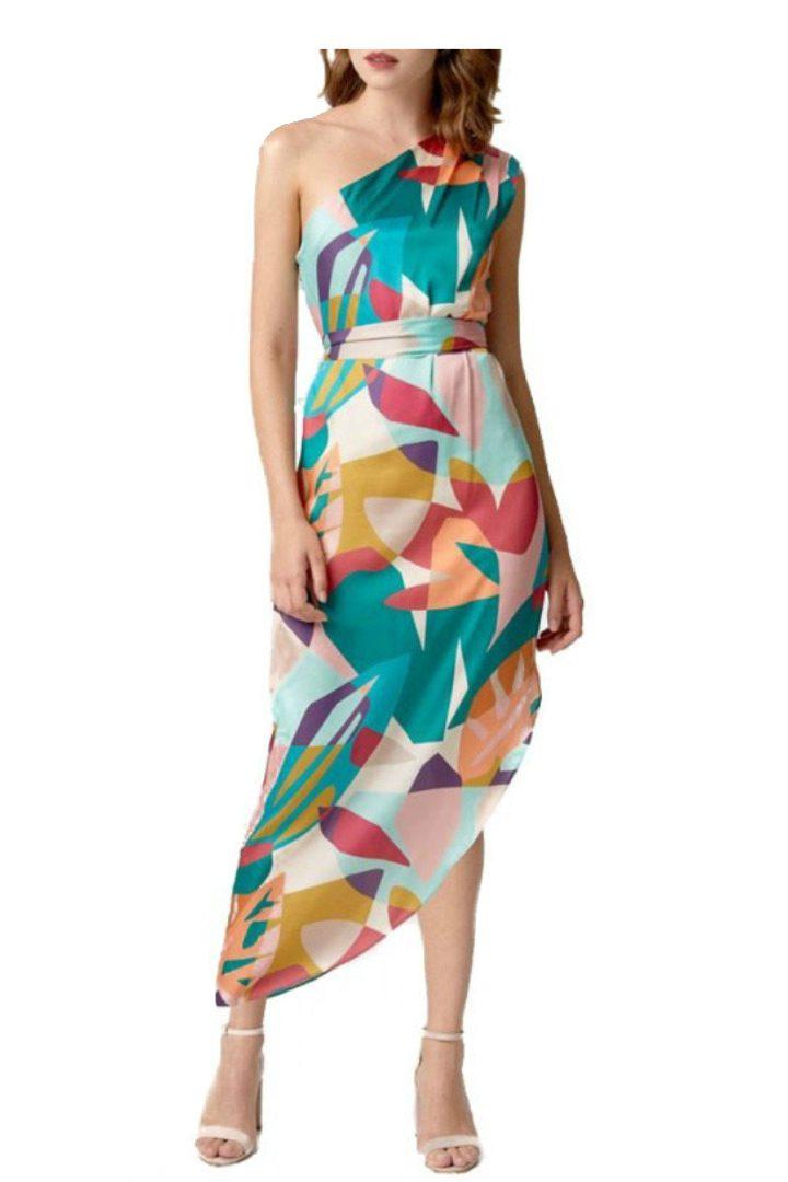 moutaki multicolor dress petrol