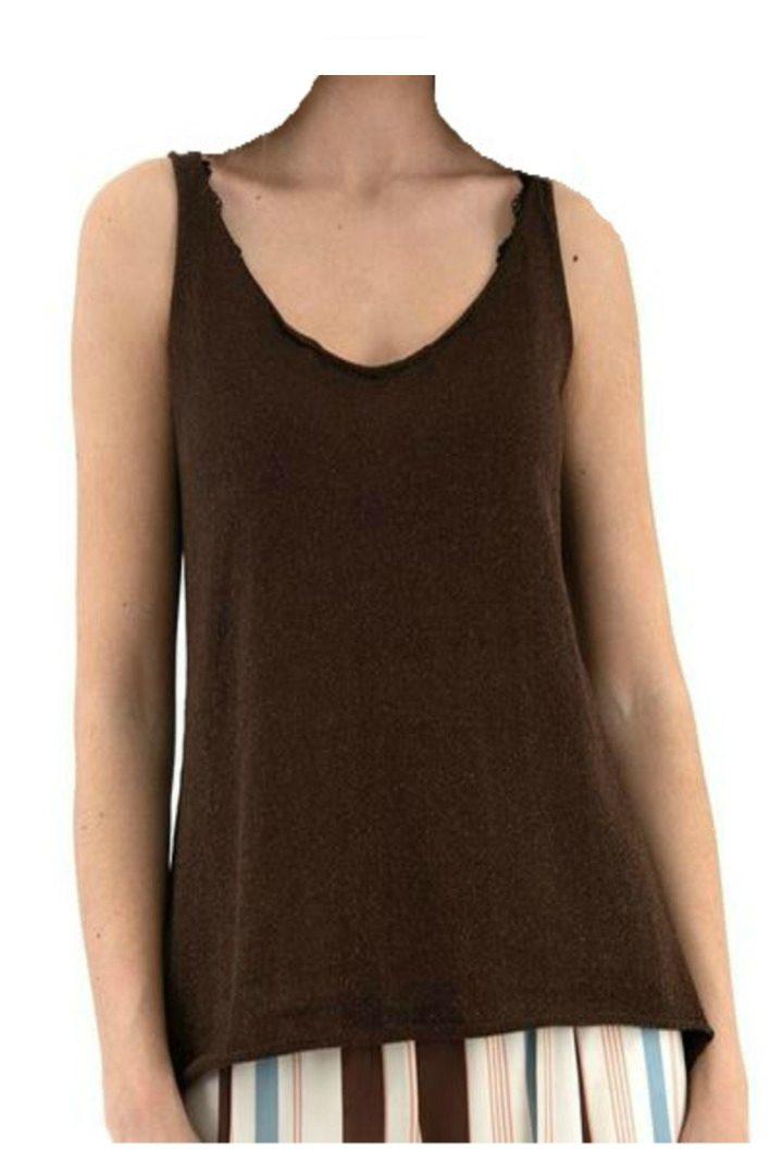 Moutaki lurex knit top brown color