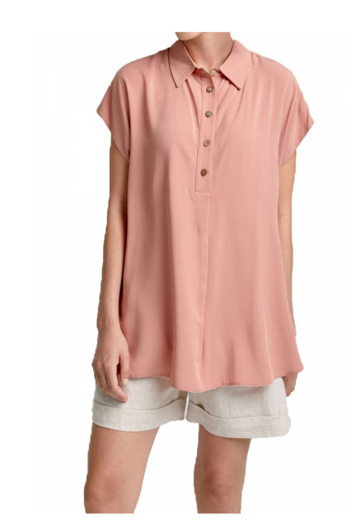 moutaki loose linen tunic nude pink