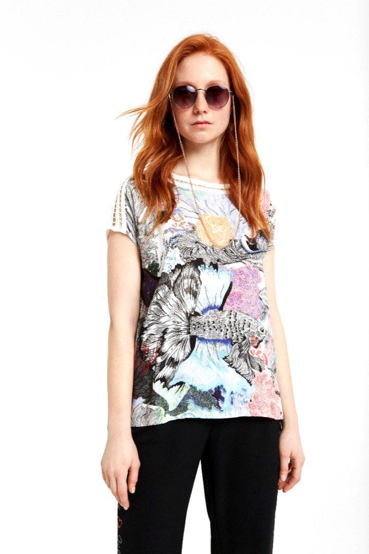 desigual t-shirt floral ,white