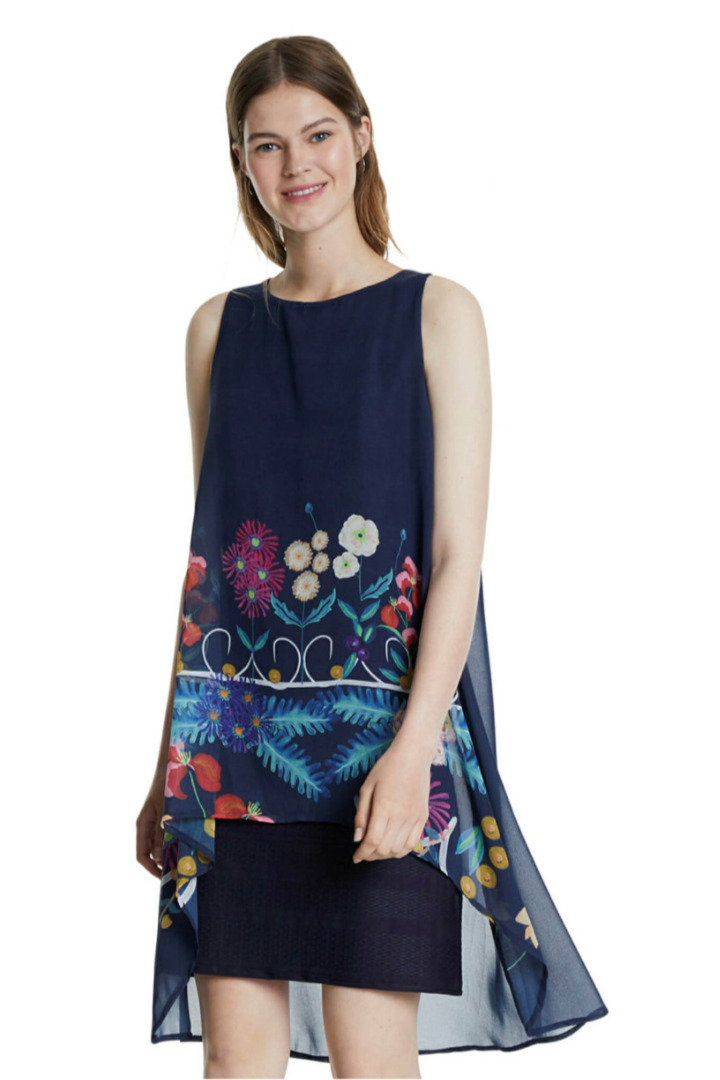 desigual φόρεμα, φλοράλ, ασύμετρο, με πολλαπλά layers