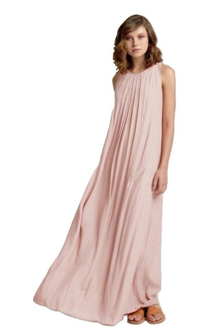 Moutaki maxi φόρεμα σε παστέλ ροζ χρώμα