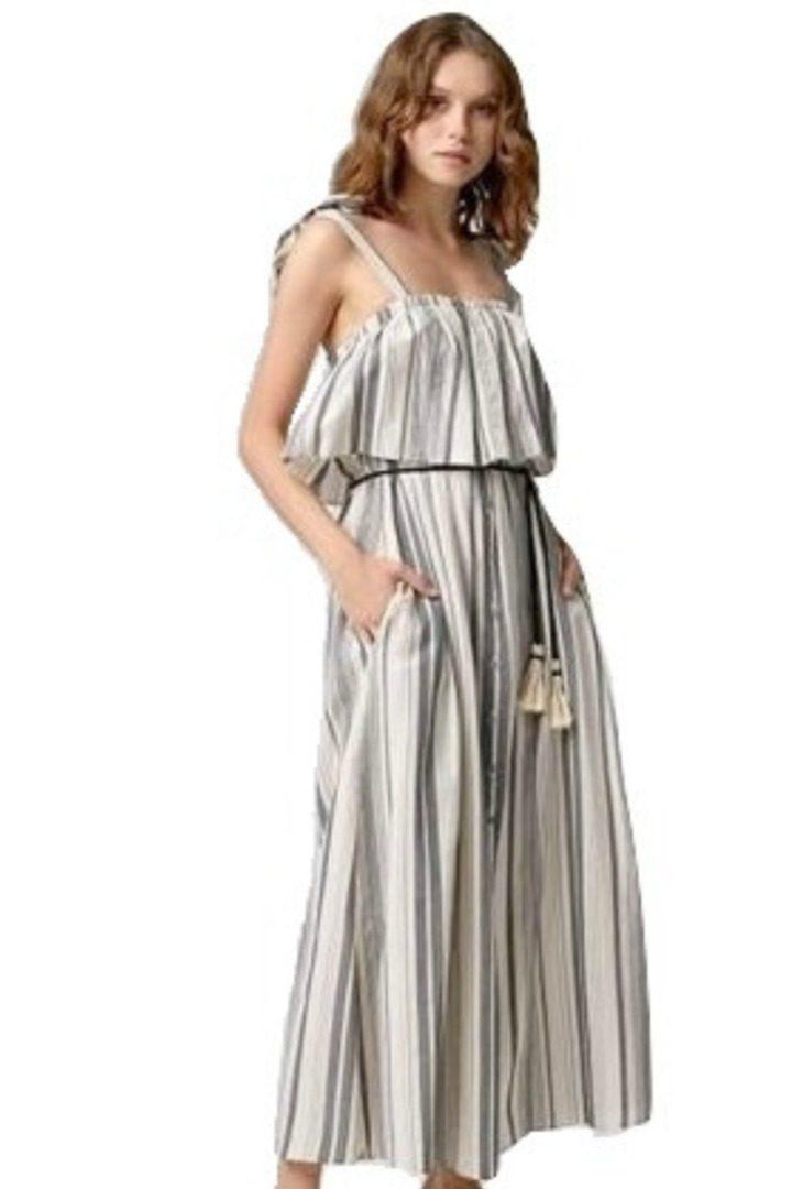 moutaki ριγέ βαμβακερό, μάξι φόρεμα