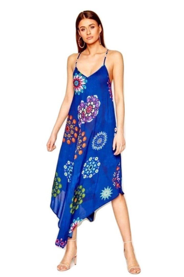 Desigual ασύμμετρο φλοράλ φόρεμα καλοκαιρινό
