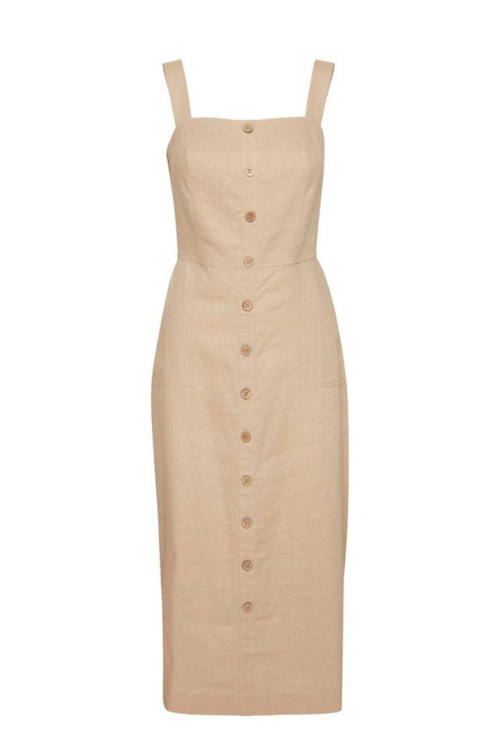 b.young μίντι λινό φόρεμα στο χρώμα της άμμου