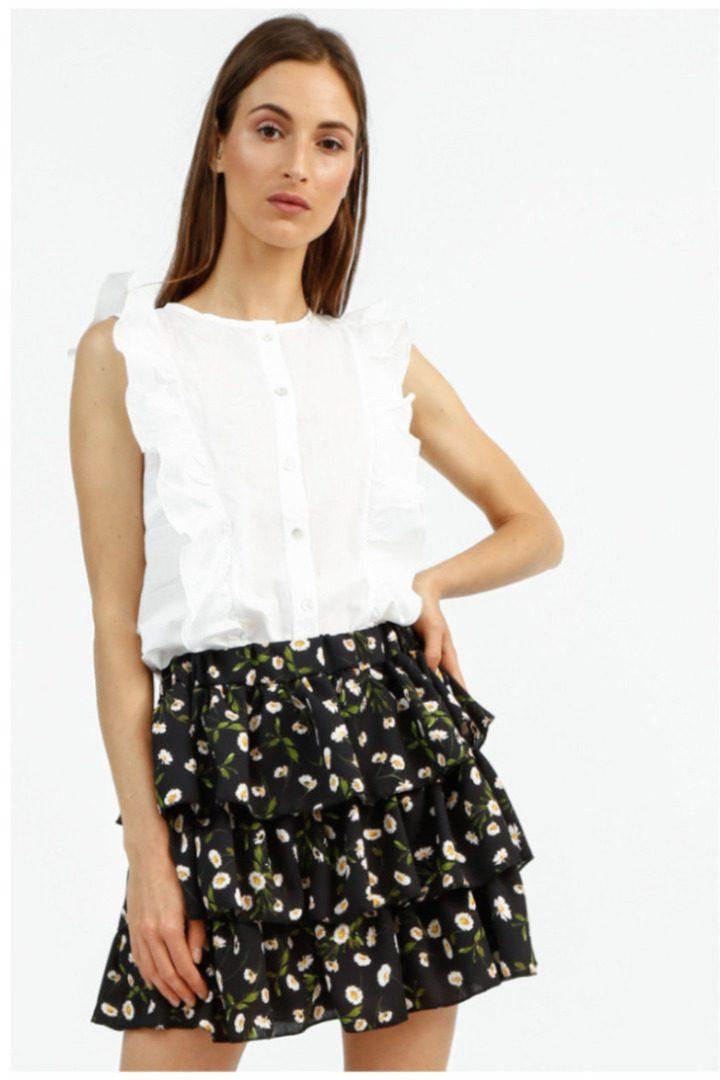 Susy Mix αμάνικο πουκάμισο λευκό