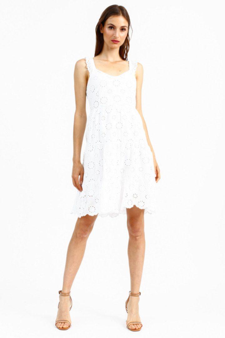 Susy mix φόρεμα κιπούρ με τιράντα , γόνατο