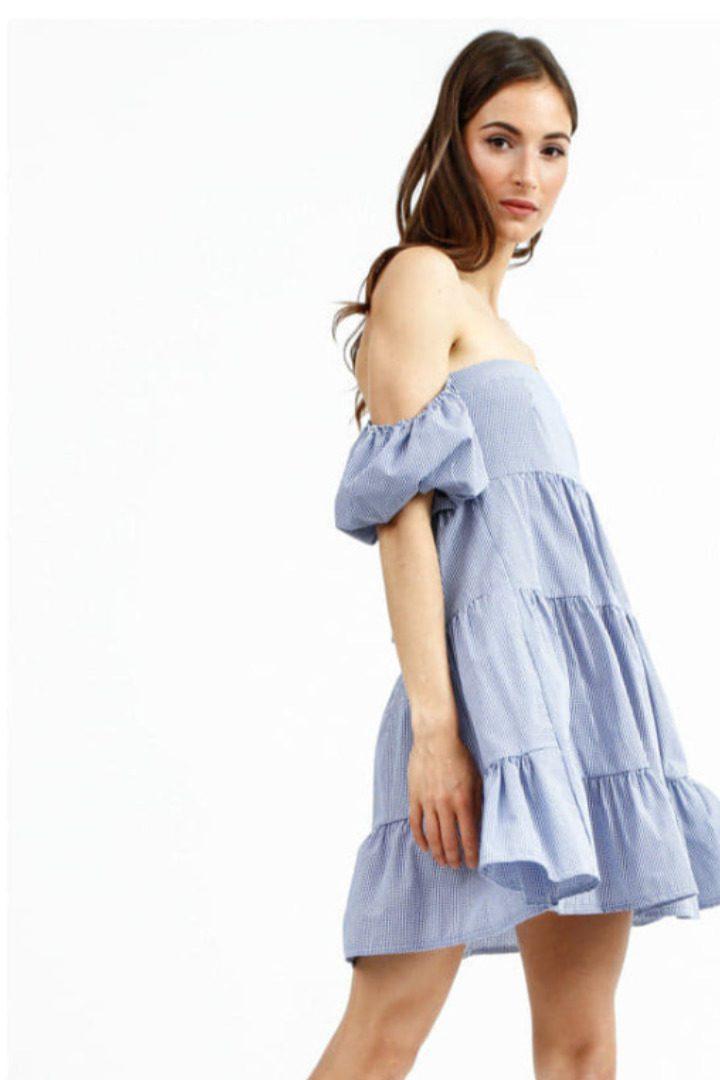 Susy mix κοντό φόρεμα με έξω ώμους