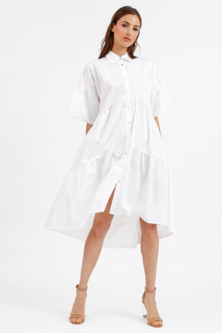 Susy mix bohemian λευκό ασύμμετρο φόρεμα