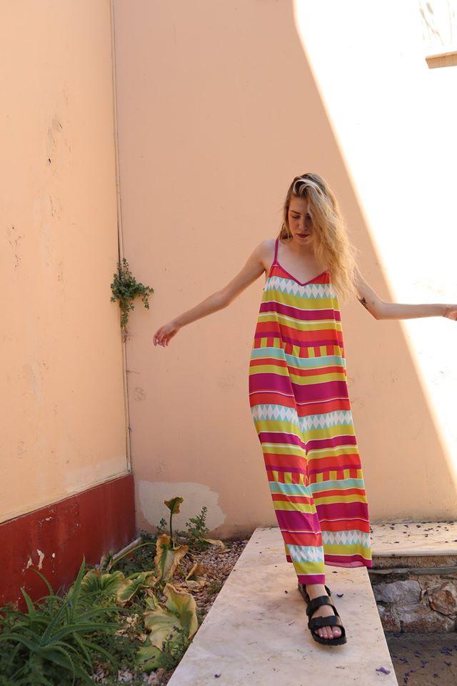 Moutaki midi πολύχρωμο φόρεμα