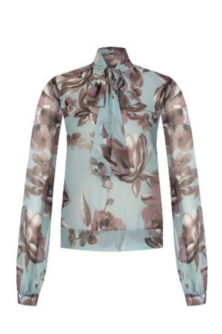 Rinascimento φλοράλ μπλούζα με δέσιμο στον λαιμό