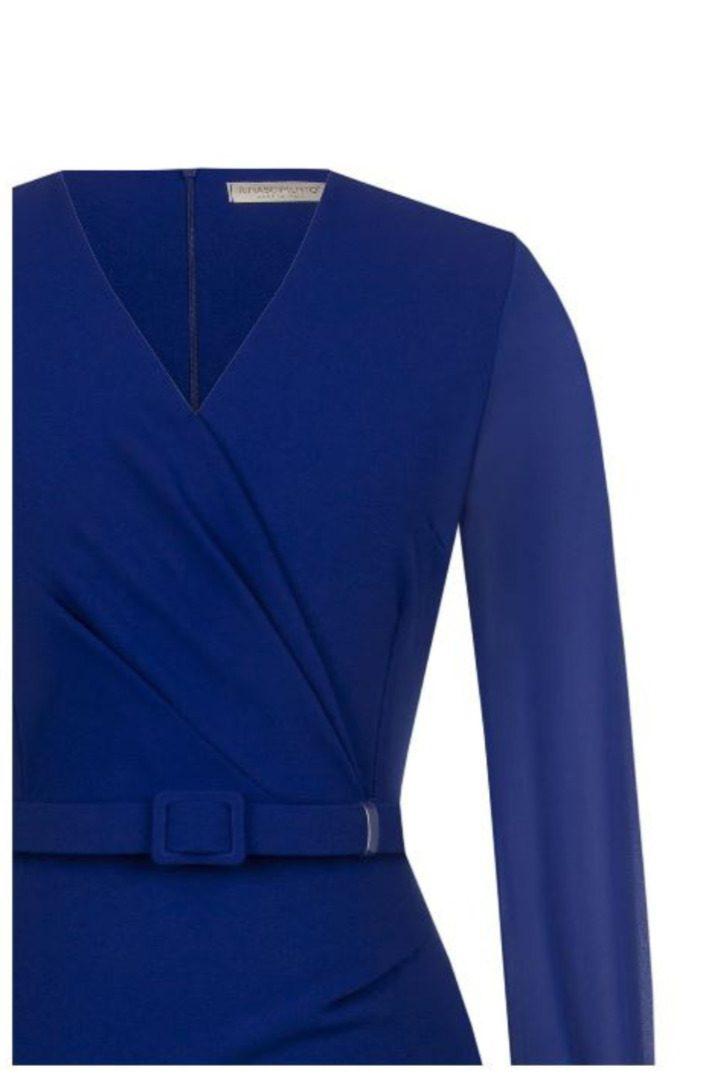 Rinascimento μίντι φόρεμα μακρυμάνικο σε μπλέ ρουά χρώμα
