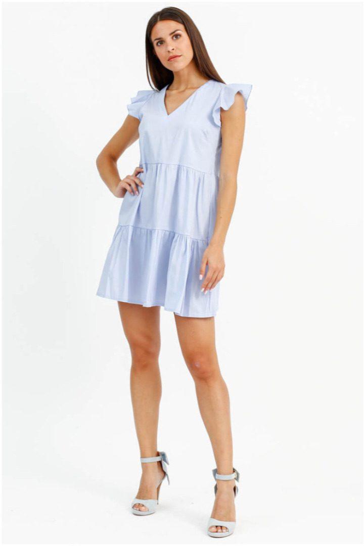 Susy mix μίνι βαμβακερό φόρεμα γαλαζιο