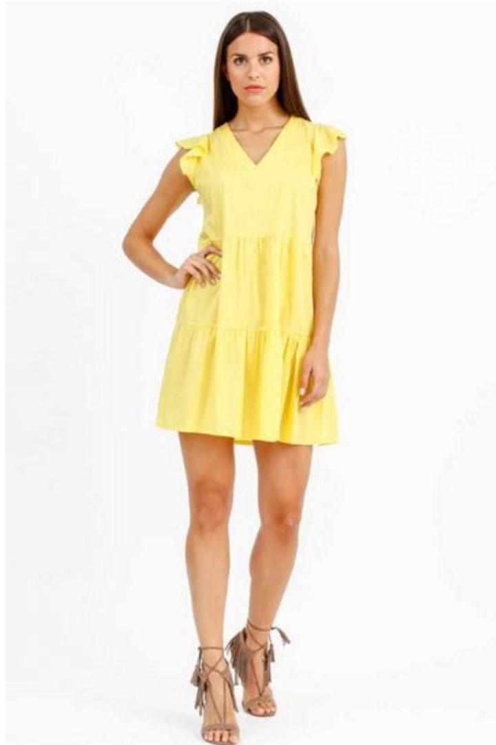 Susy mix μίνι βαμβακερό φόρεμα κίτρινο χρώμα