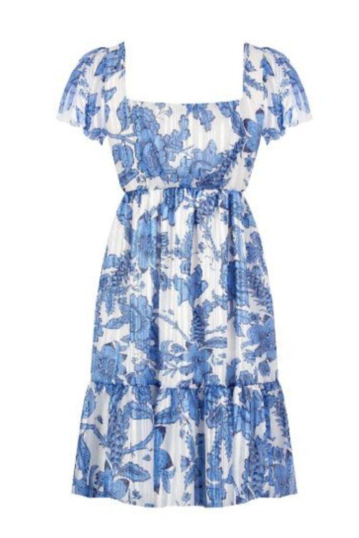 Rinascimento μίνι φλοράλ φόρεμα κοντομάνικο