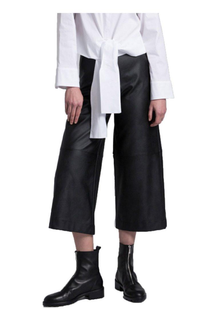 Moutaki eco leather zιπ κιλότ