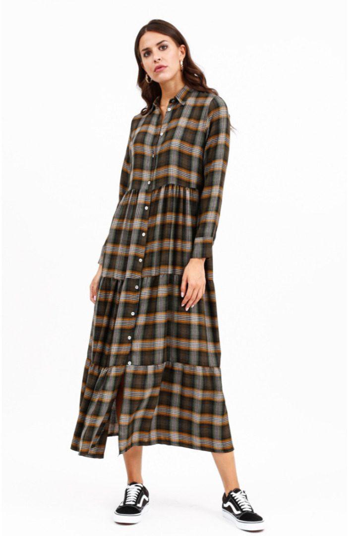 Susy mix καρό φόρεμα μίντι