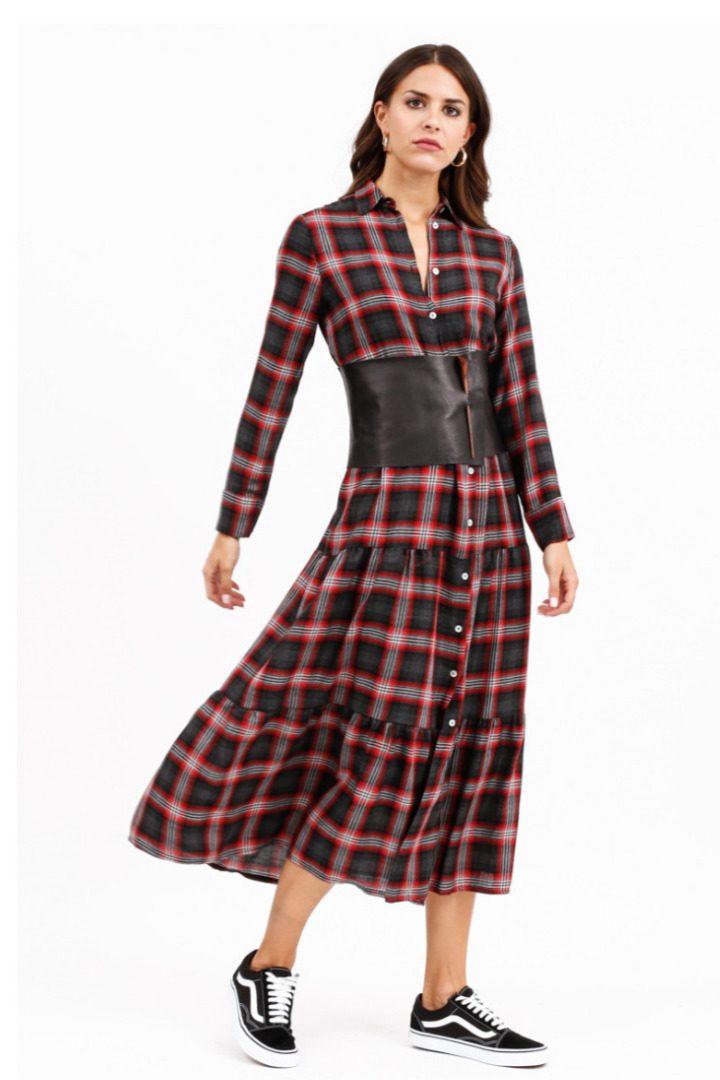 Susy mix καρώ μίντι φόρεμα