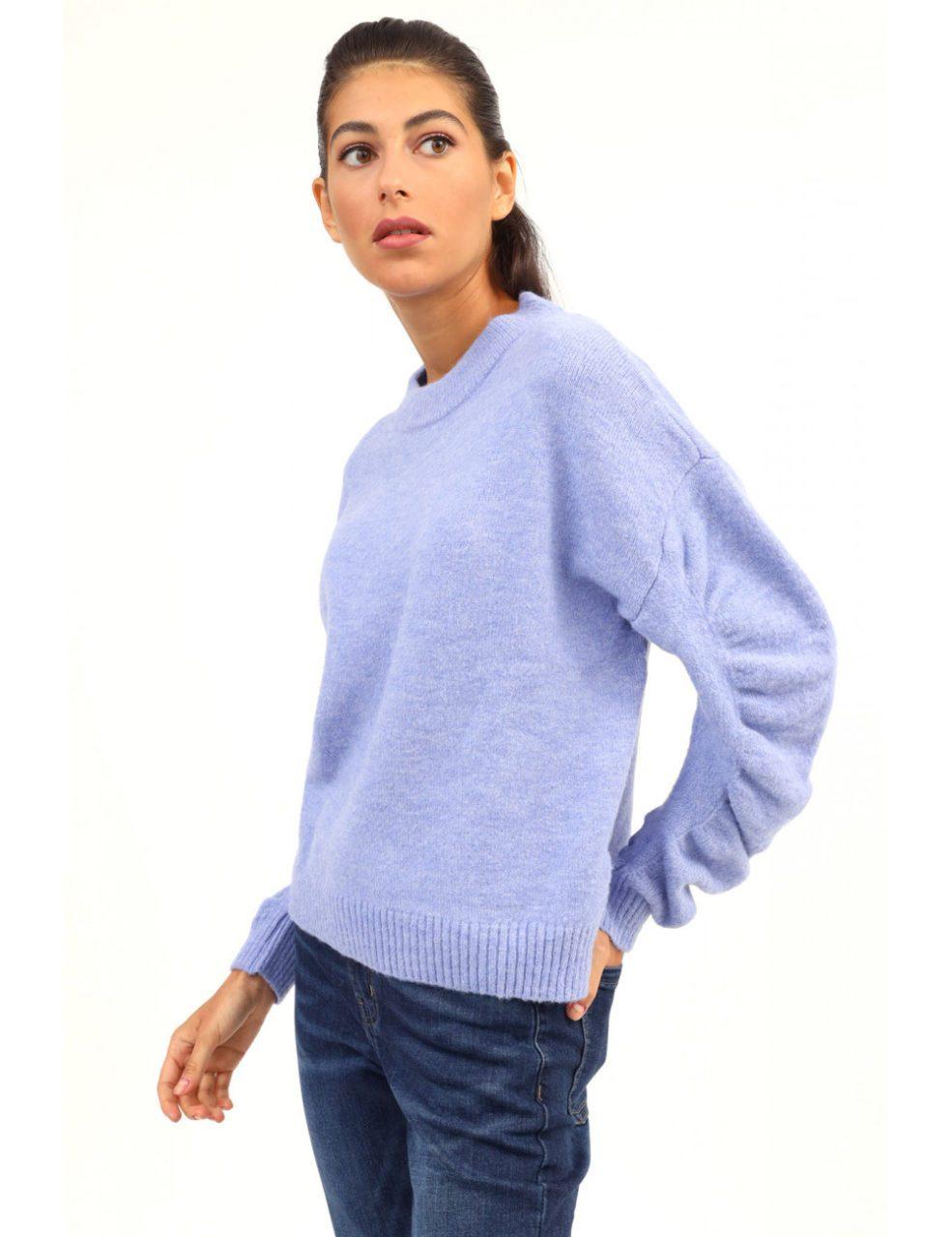 Susy mix πλεκτό πουλόβερ με σούρα στα μανίκια