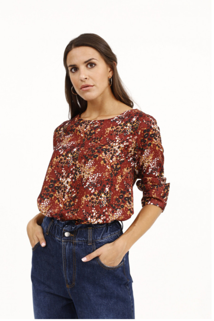 Susy mix φλοράλ γυναικεία μπλούζα μακρυμάνικι