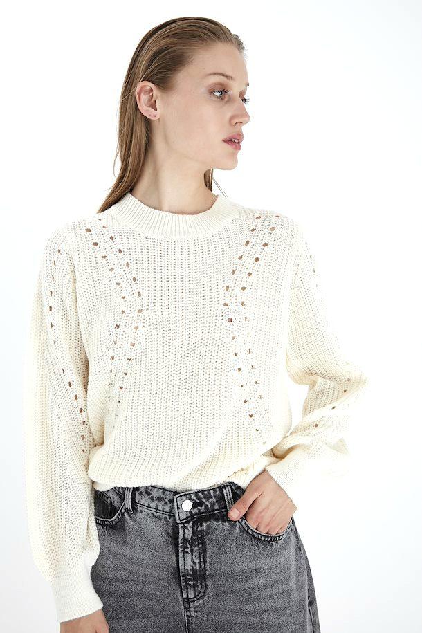 b.young λευκό πλεκτό πουλόβερ