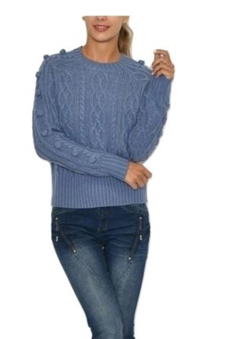 b.young πλεκτό πουλόβερ με φουντάκια