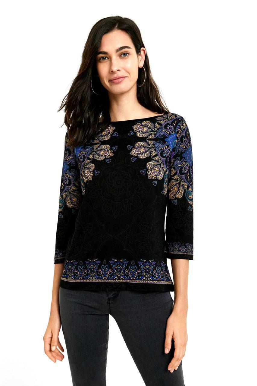 Desigual μπλούζα με 3/4 μανίκια και σχέδια