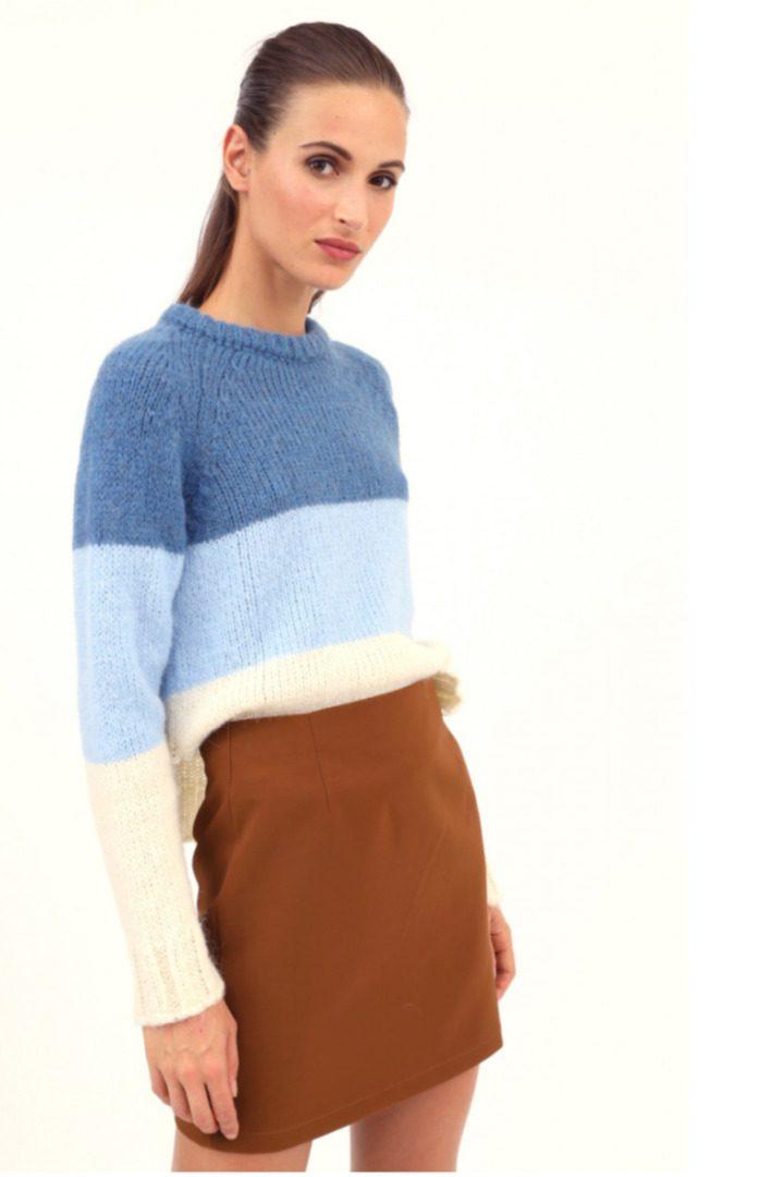 Susy mix γυναικείο πλεκτό πουλόβερ με ρίγες
