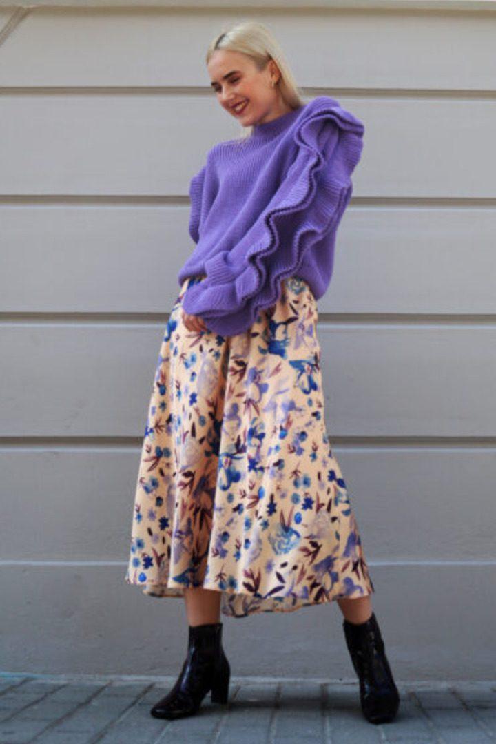 Moutaki πλεκτό πουλόβερ λιλά