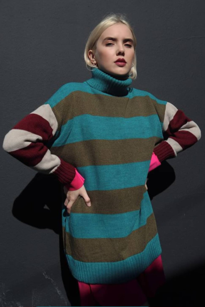 Moutaki ριγέ πουλόβερ oversize