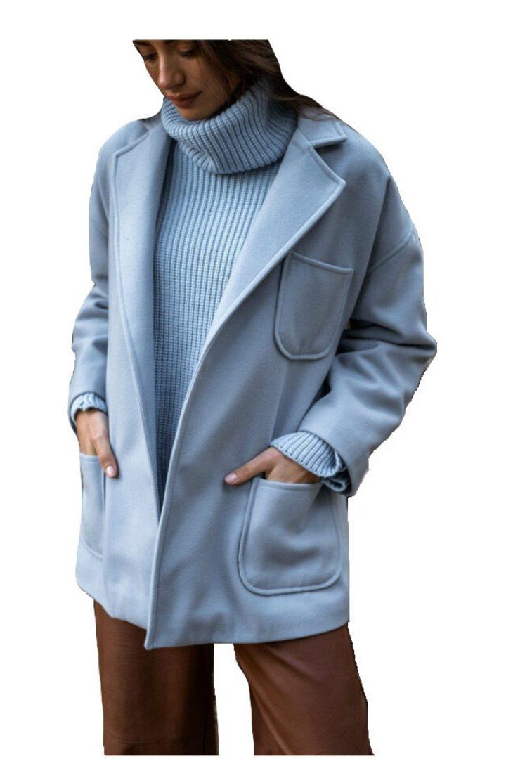 Moutaki κοντό παλτό γαλάζιο