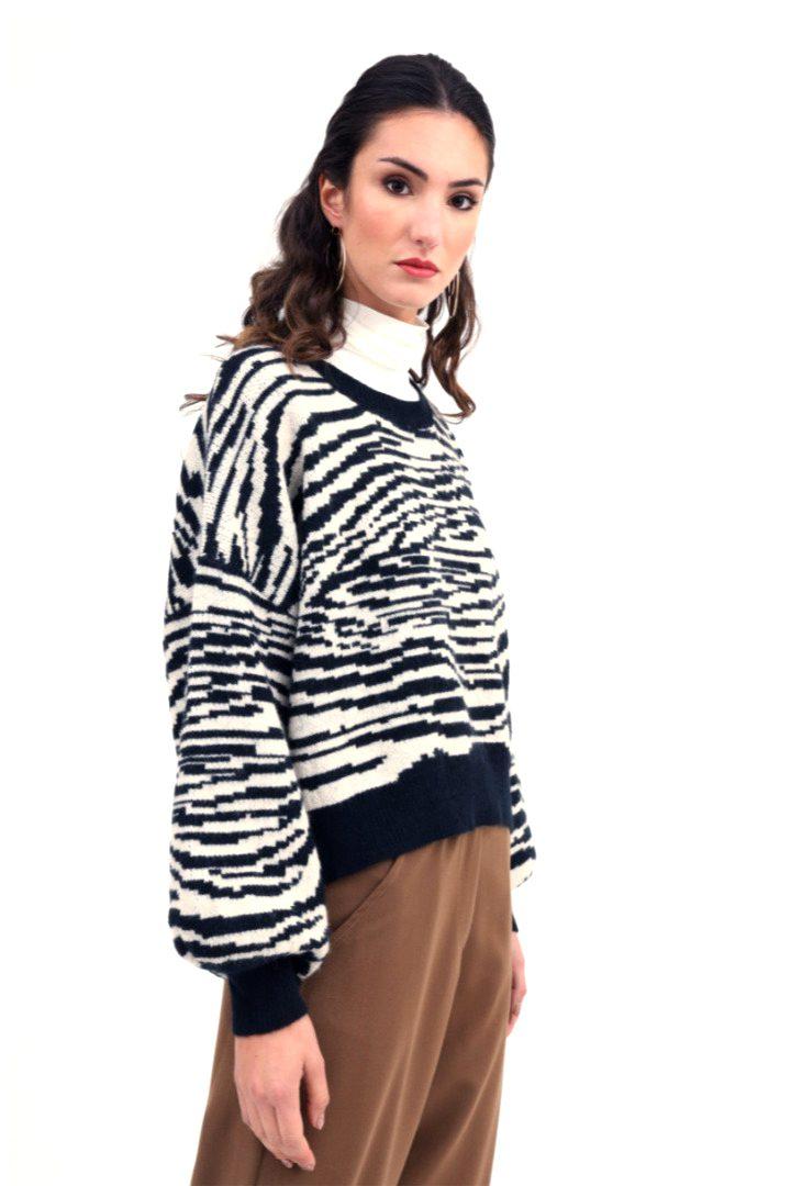 Susy mix πλεκτό πουλόβερ σχέδιο ζέβρα