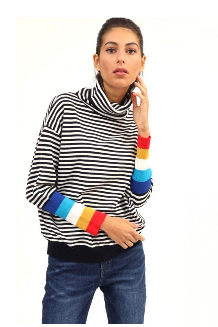 Susy mix πλεκτό ριγέ πουλόβερ