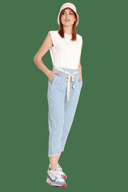 Susy mix ριγέ βαμβακερό παντελόνι