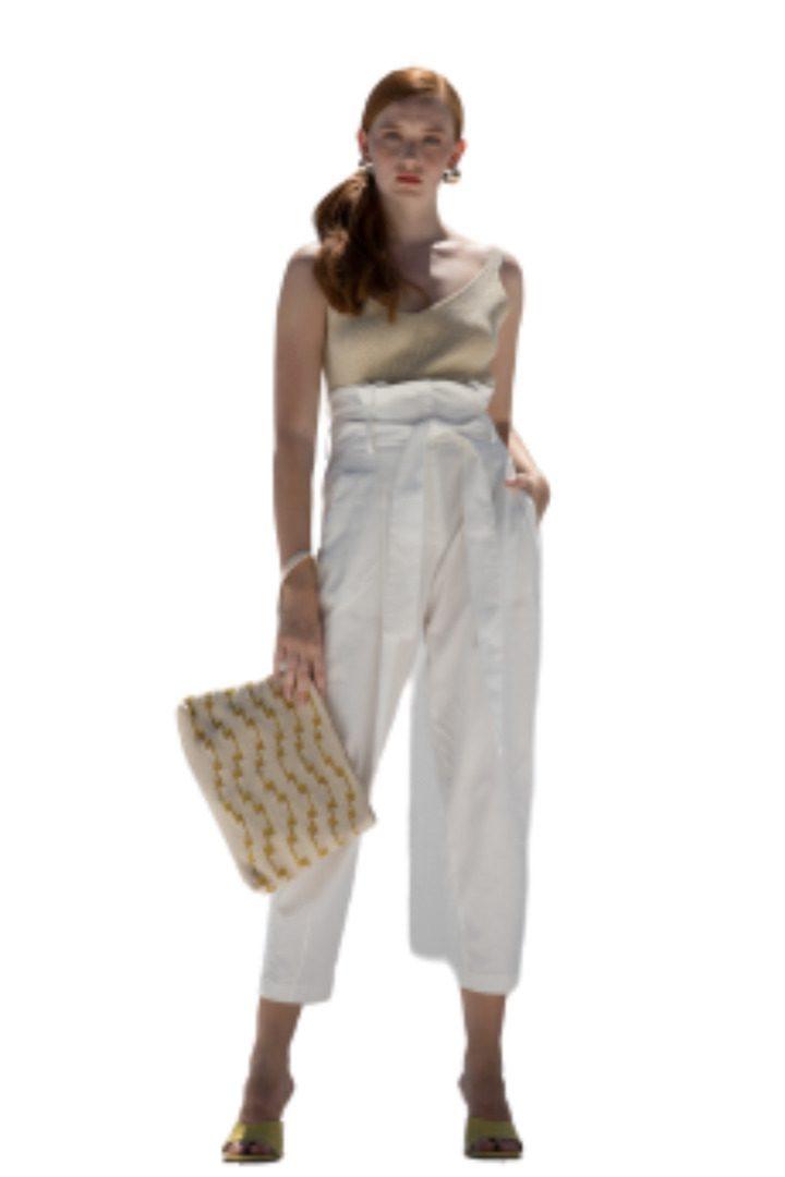 Moutaki φαρδύ παντελόνι με ζώνη
