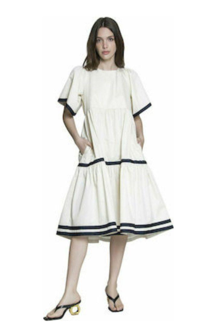 Moutaki boho φόρεμα εκρού σε χαλαρή γραμμή