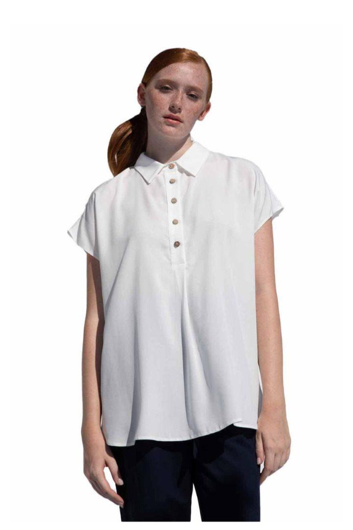 Moutaki λευκό πουκάμισο κοντομάνικο