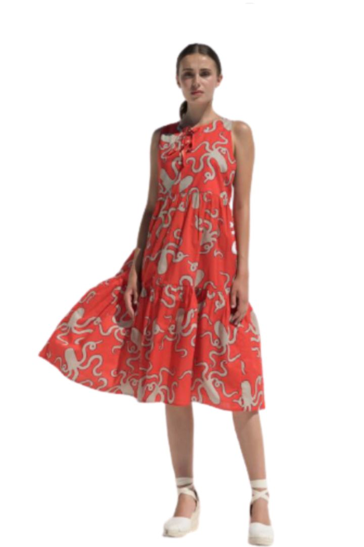 Moutaki βαμβακερό φόρεμα μίντι