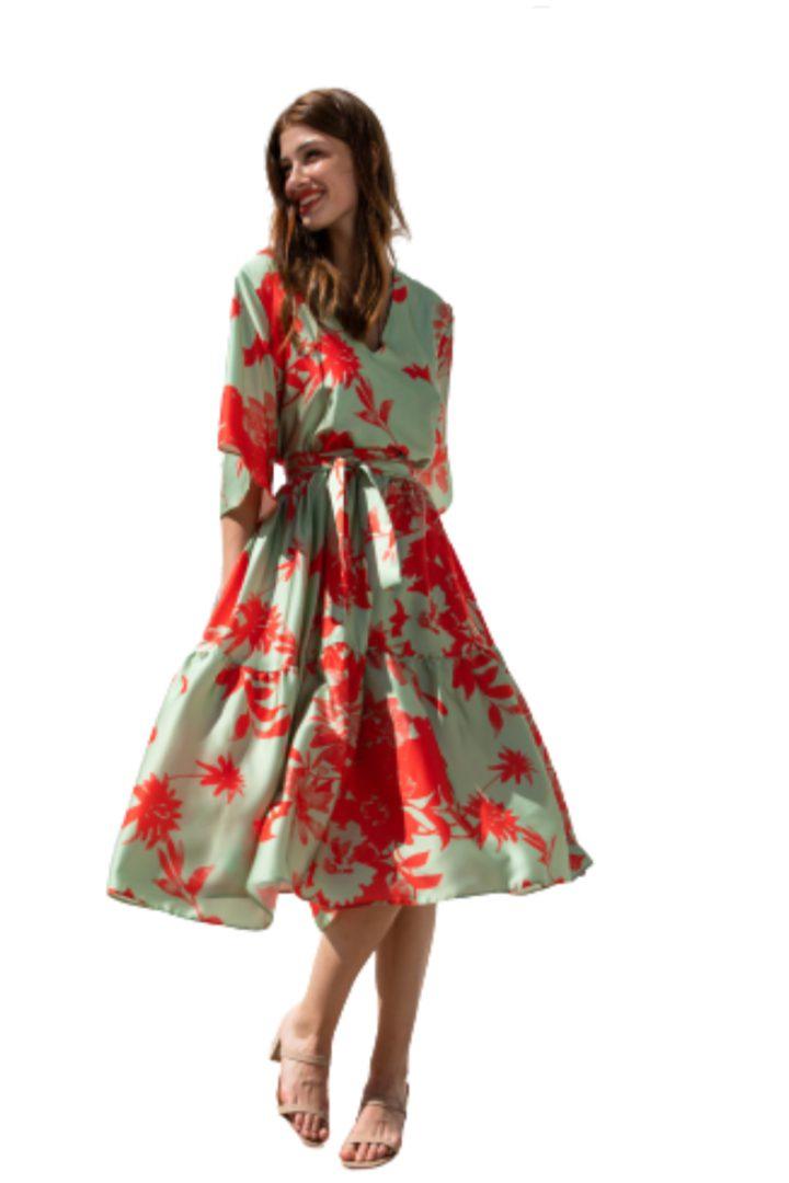 Moutaki midi καλοκαιρινό φόρεμα floral