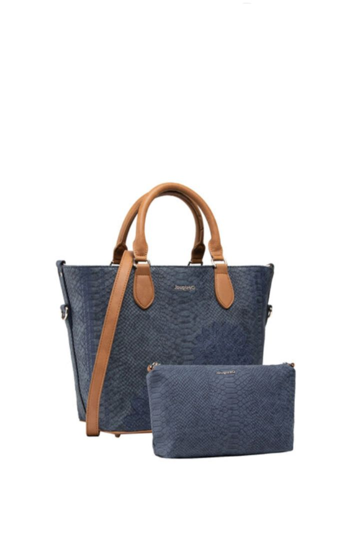 Desigual τσάντα χειρός μπλέ χρώμα